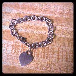 Tiffany Sterling Heart Charm Bracelet